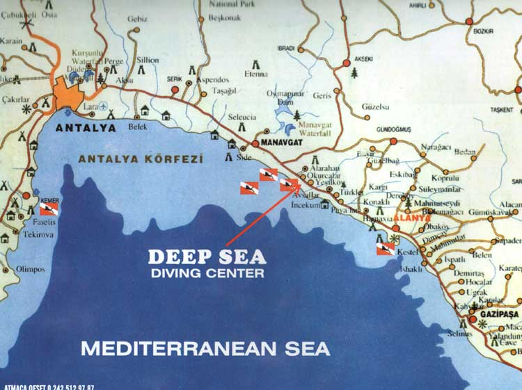 Map Landkarte Deep Sea Diving Center Turkey Tauchbasis Turkei